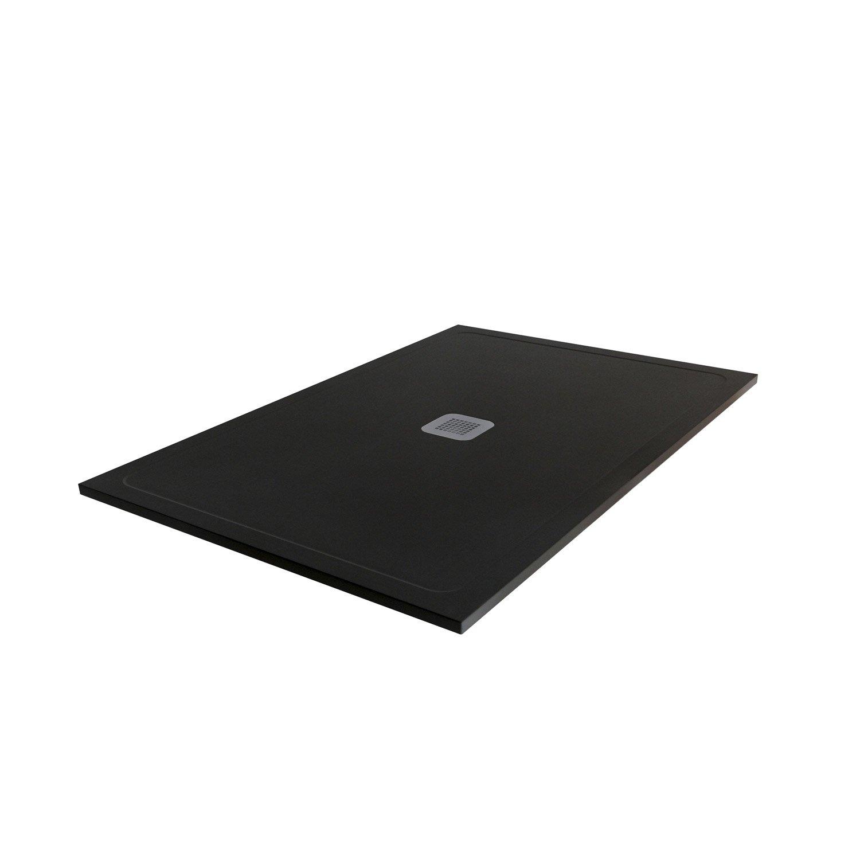 Receveur de douche rectangulaire x cm pierre noir osaka2 leroy merlin - Receveur de douche 160 x 80 ...