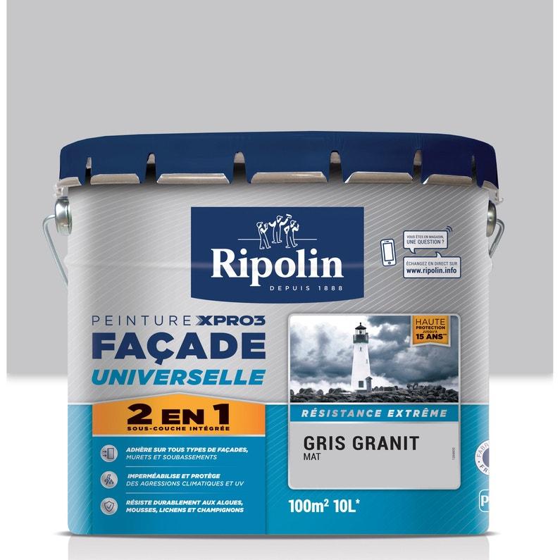 Peinture Façade 2en1 Xpro3 Ripolin Gris Granit 10 L Leroy Merlin