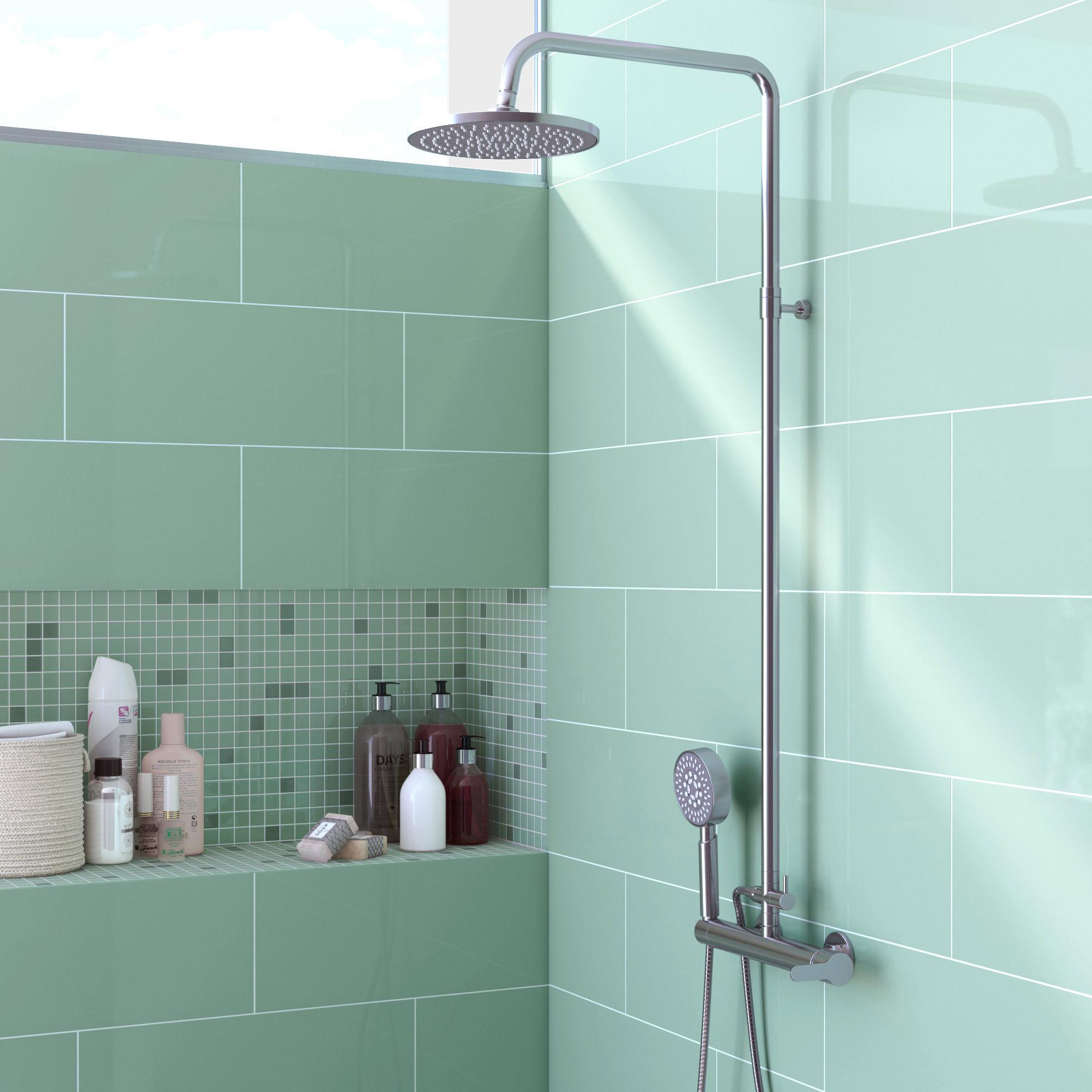 Faience Vert D Eau faïence mur forte uni vert d'eau brillant l.20 x l.50.2 cm, loft