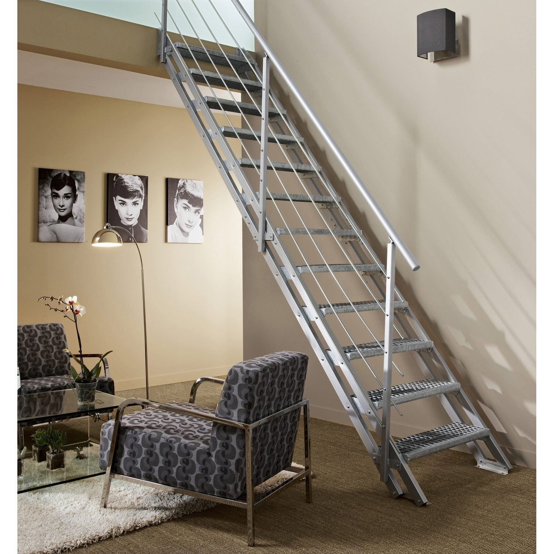 Escalier modulaire escavario structure acier galvanis marche acier galvanis leroy merlin - Escalier exterieur galvanise en kit ...