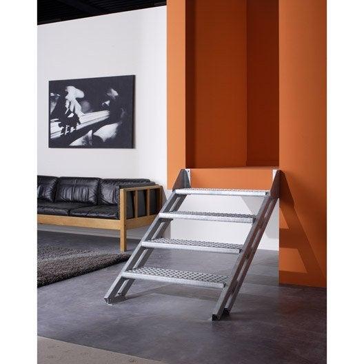 Escalier modulaire escavario structure acier galvanis marche acier galvanis - Montage escalier leroy merlin ...