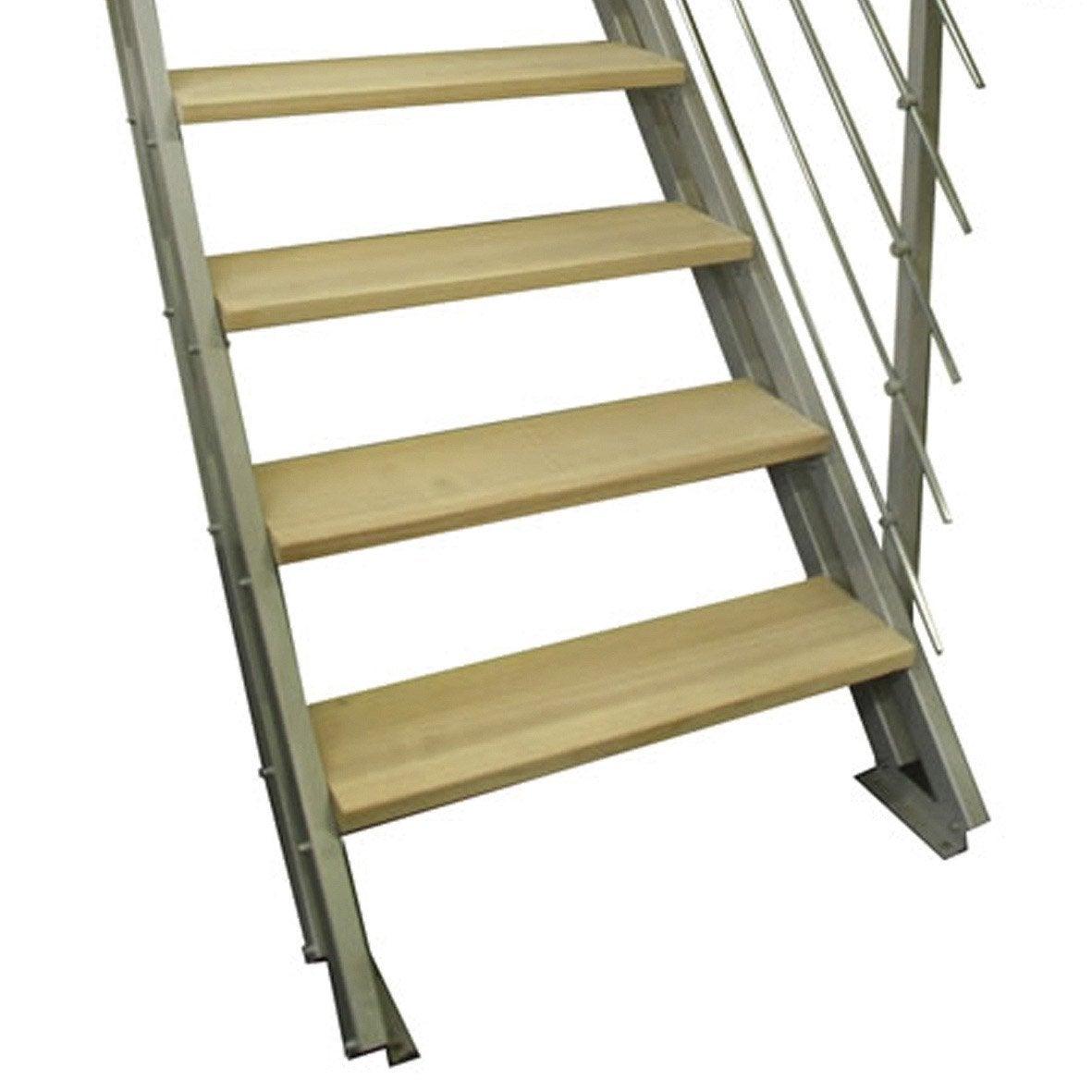 Escalier modulaire escavario structure acier marche bois leroy merlin - Escalier pas japonais leroy merlin ...
