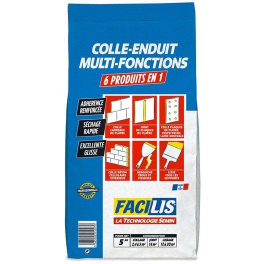 Enduit colle universel facilis 5 kg leroy merlin for Enduit colle exterieur