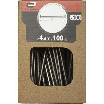 Clous spécial béton Acier, STANDERS tête plate, Diam.4.5 x L.100 mm