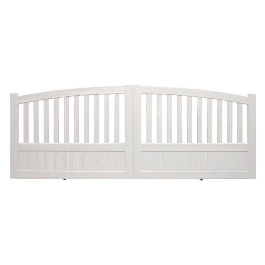 portail coulissant pvc etrelles blanc naterial cm x cm leroy merlin. Black Bedroom Furniture Sets. Home Design Ideas