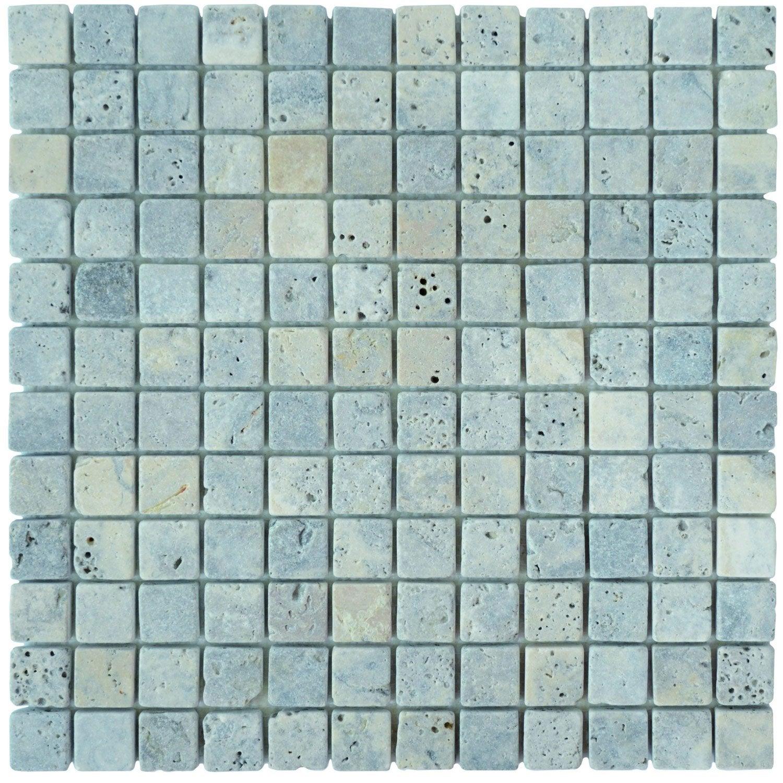 Mosaïque sol et mur Mineral travertin gris 2.3 x 2.3 cm | Leroy Merlin