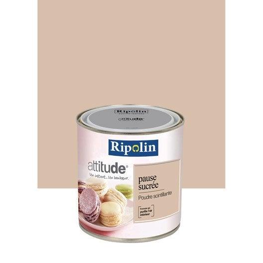 Peinture m tallis poudre scintillant ripolin attitude pause sucr e 0 5 l leroy merlin - Couleur peinture rose poudre ...