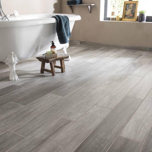 Carrelage sol et mur gris effet bois way x cm for Sol carrelage imitation bois