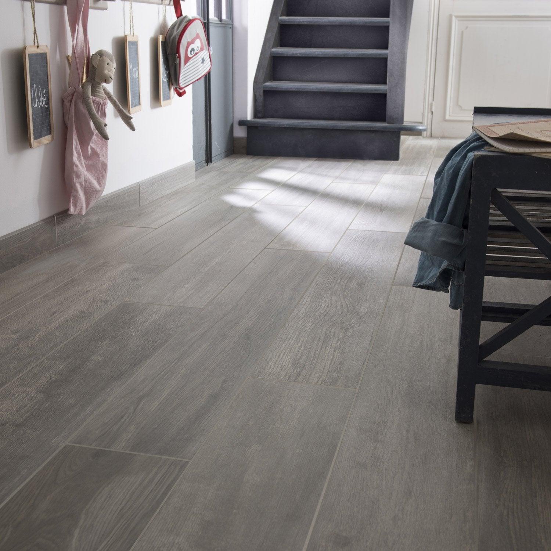 Carrelage sol et mur gris effet bois Way l.19.7 x L.120 cm