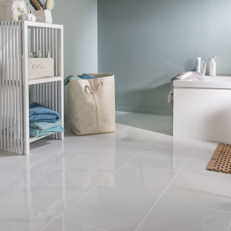 carrelage sol et mur medio effet marbre blanc samos. Black Bedroom Furniture Sets. Home Design Ideas