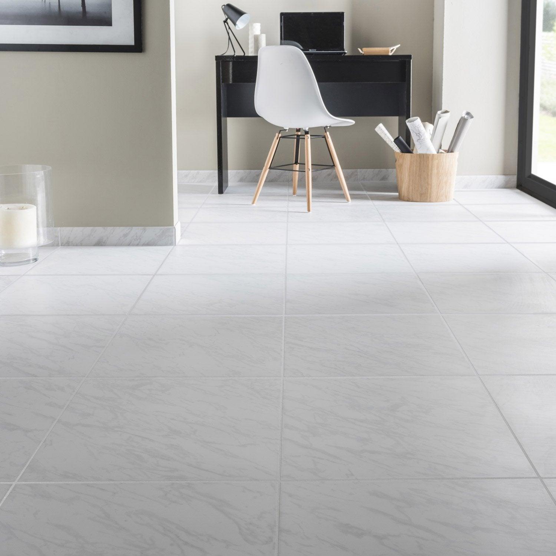 Carrelage sol et mur blanc aspect marbre l.45 x L.45 cm