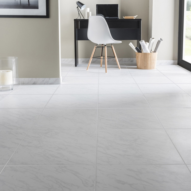 Carrelage sol et mur blanc effet marbre cyclade x l for Carrelage effet parquet blanc