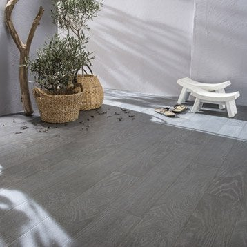 Carrelage sol anthracite effet bois Tropic l.15 x L.90 cm
