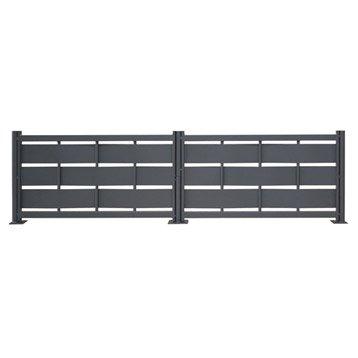 Clôture acier Eria gris 7016, H.57 x l.154 cm