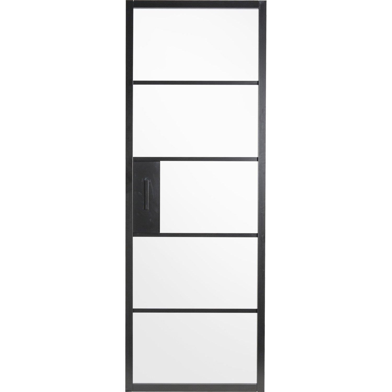 Porte Coulissante Laquee Noir Chloe Artens H 204 X L 83 Cm Leroy