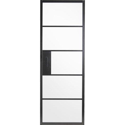 Porte coulissante laque noir chlo artens h x l cm with for Porte coulissante silencieuse