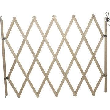 Barrière extensible animaux en bois, long. min/max 18/104 cm, H84 cm
