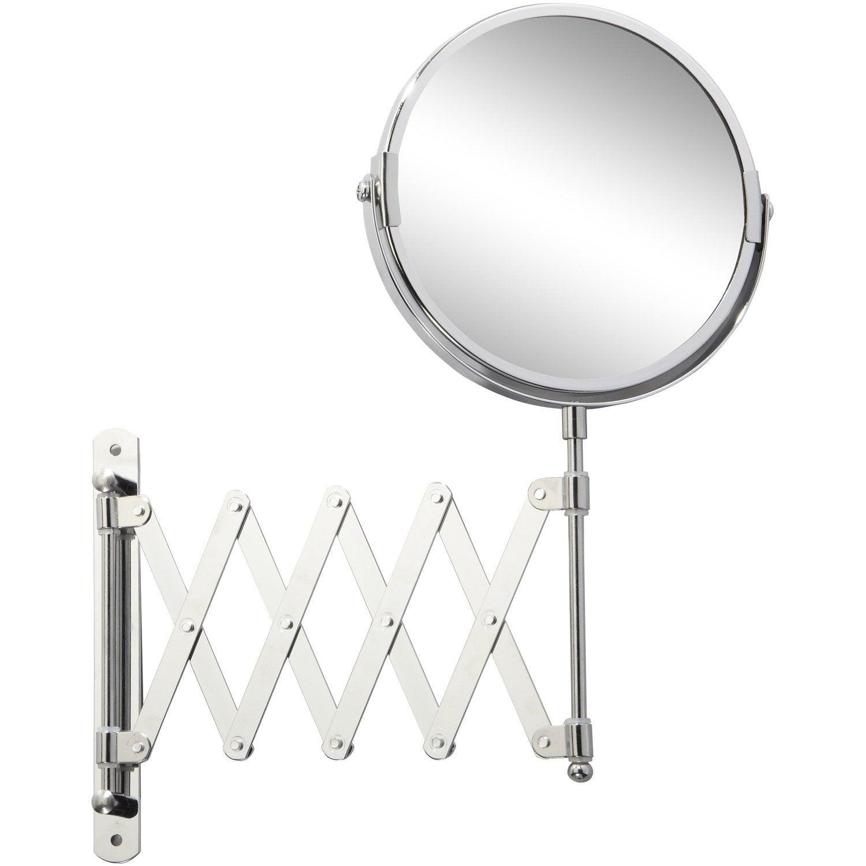 Miroir Grossissant Salle De Bain miroir grossissant x 2 rond à fixer, h.15 x l.15 x p.1.8 cm, beauty