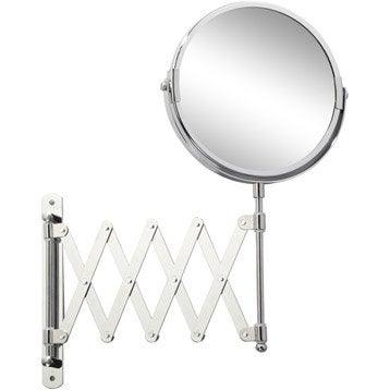Miroir grossissant x 2 rond à fixer, H.15 x l.15 x P.1.8 cm, Beauty extensible