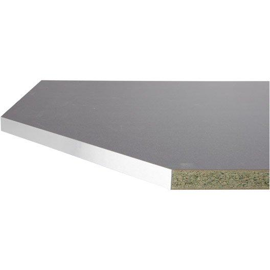 Plan d 39 angle stratifi gris m tal mat x cm mm leroy merlin - Matiere van plan de travail cuisine ...