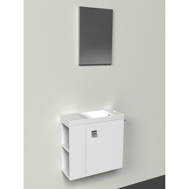 Meuble lave mains avec miroir Blanc Blanc n°0 l 55 x p 22 x h 53 5
