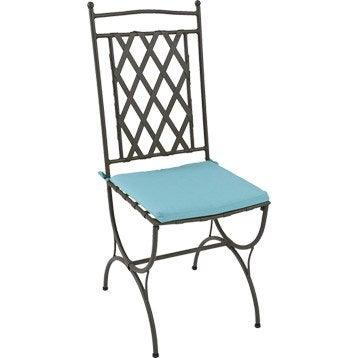 Coussin d'assise de chaise ou de fauteuil NATERIAL Laura, uni bleu atoll