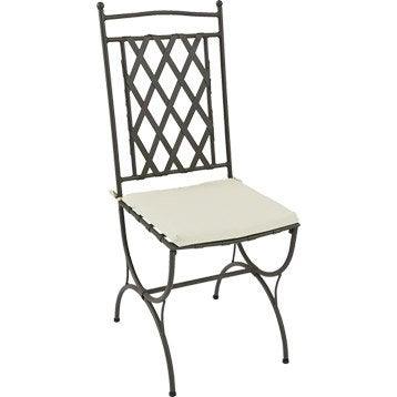 Coussin d'assise de chaise ou de fauteuil NATERIAL Laura, uni blanc ivoire