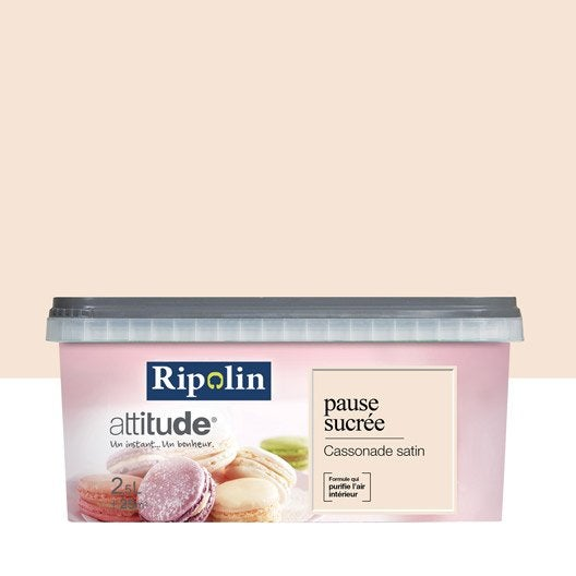 Peinture beige cassonade ripolin attitude pause sucr e 2 5 l leroy merlin for Peinture beige rose