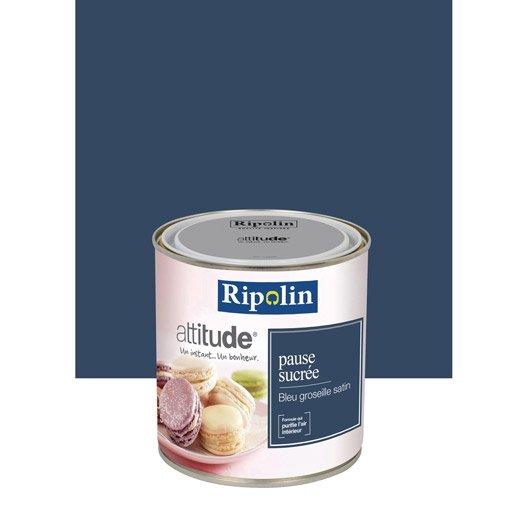 Peinture bleu groseille ripolin attitude pause sucr e 0 5 for Rose poudre peinture