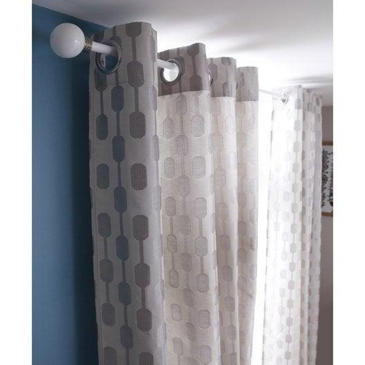 rideau diabolo gris clair l 140 x h 260 cm inspire leroy merlin