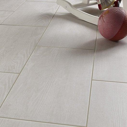 Carrelage sol et mur blanc effet bois tropic x cm for Glissance carrelage