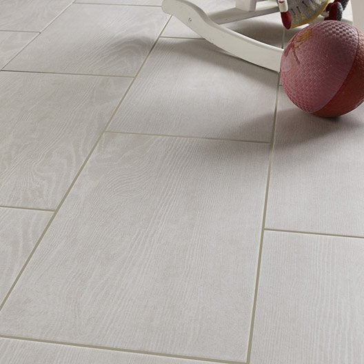 Carrelage sol et mur blanc effet bois tropic x cm for Carrelage piscine blanc