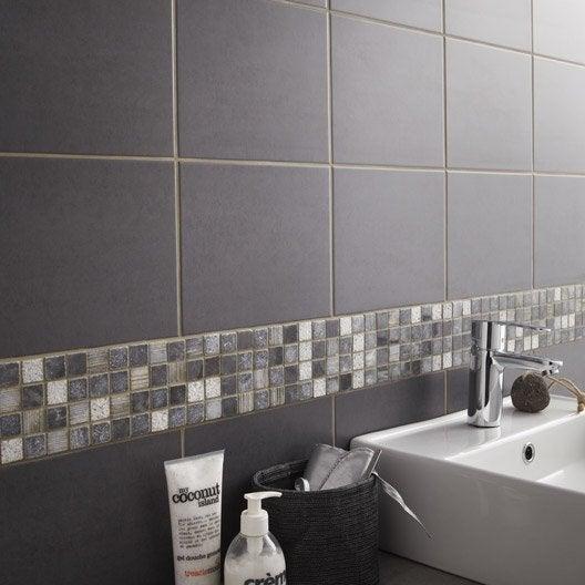 Fa ence mur gris fonc fly a ro x cm leroy merlin - Faience grise salle de bain ...