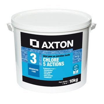 Chlore 5 actions piscine AXTON, galet 10 kg