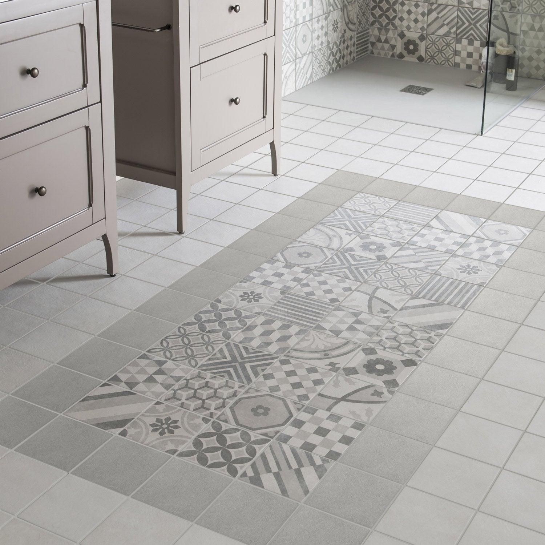 Carrelage sol et mur gris elliot x cm leroy for Carrelage avec motif