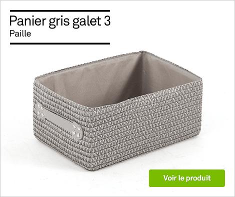 HOP - Panier en plastique gris galet 3, Paille - 69545504