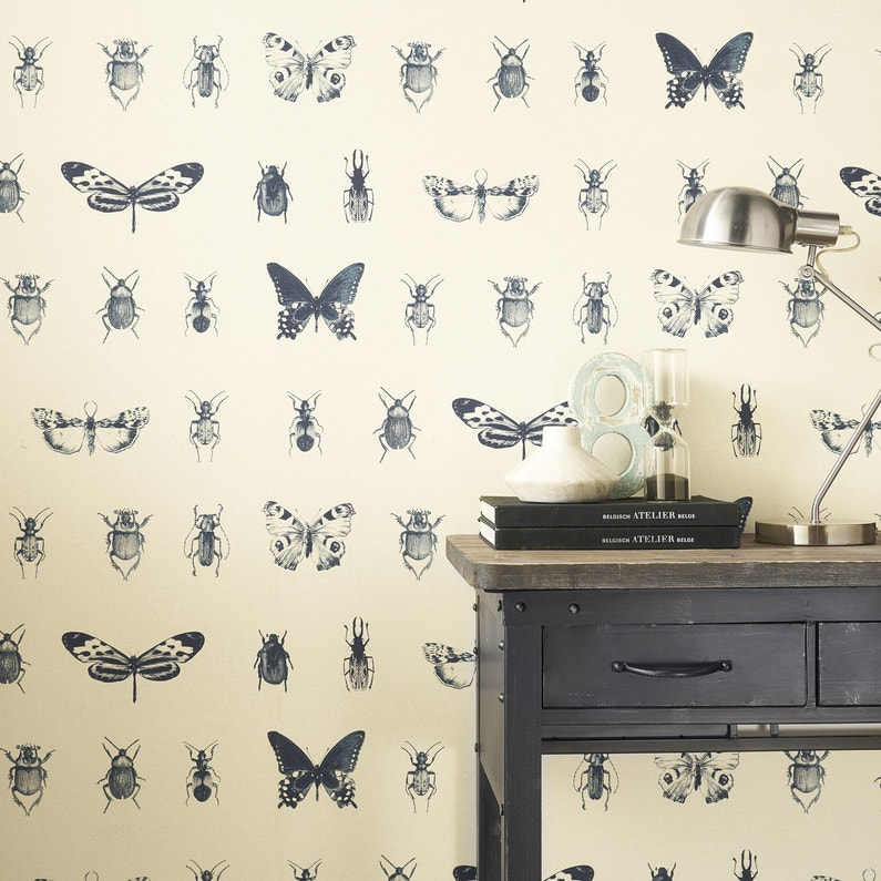 Papier Peint Intisse Insect Bleu Leroy Merlin