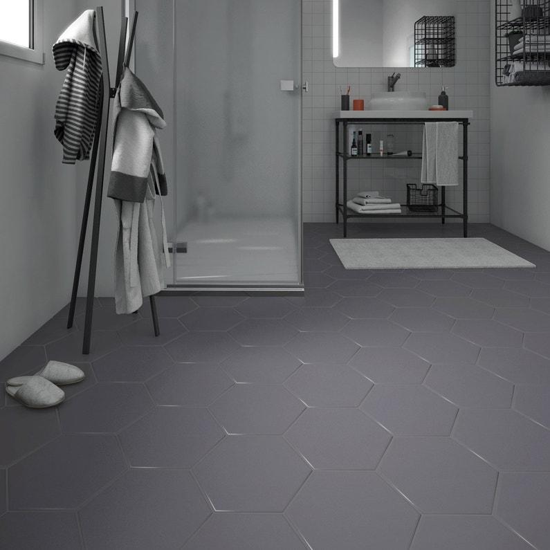 carrelage sol et mur forte béton gris foncé hexo l.25.8 x l.29 cm