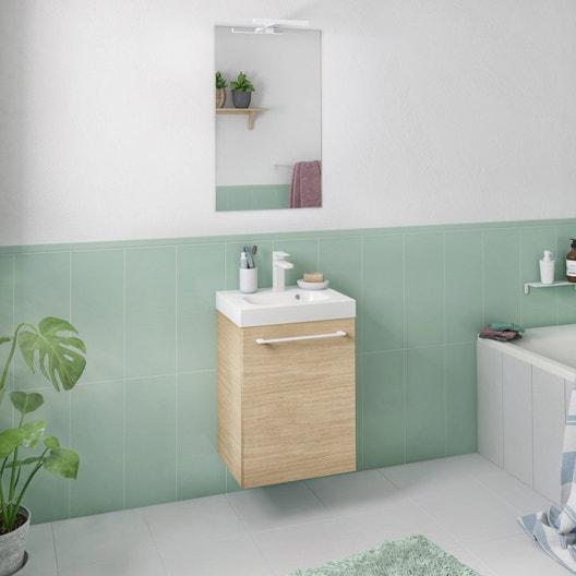 Meuble de salle de bains remix ch ne naturel simple vasque 1 porte leroy merlin - Meuble salle de bain remix ...