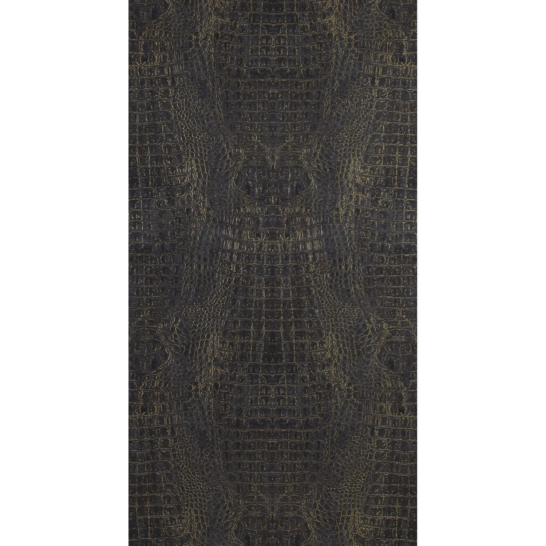 Papier peint vinyle Shaman Croco noir doré