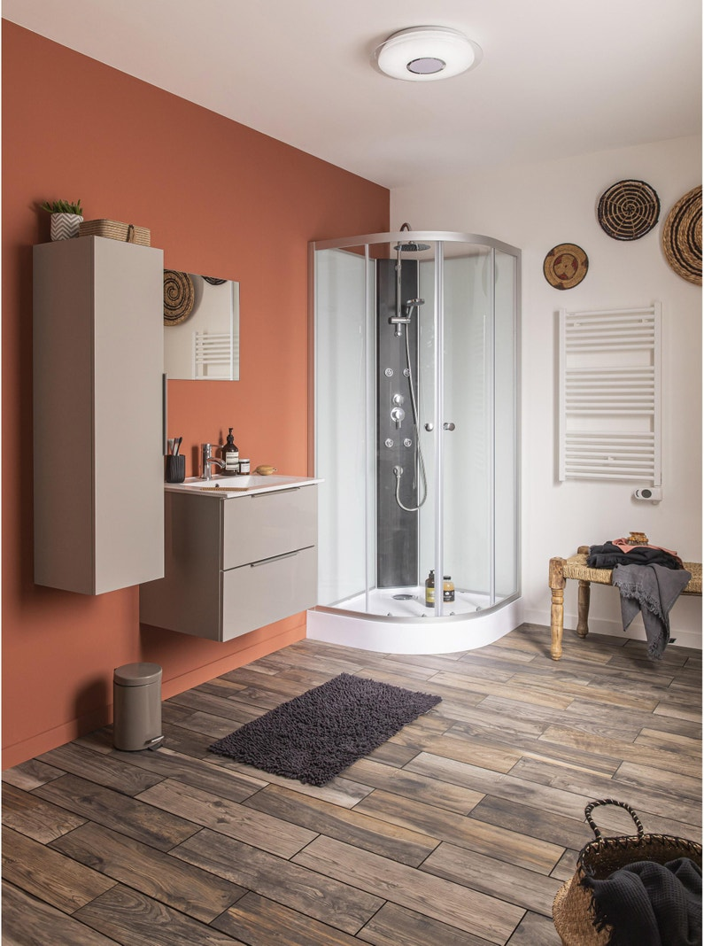 Meuble de salle de bains simple vasque, Essential gris l.200 x H.200 x P.200.20  cm