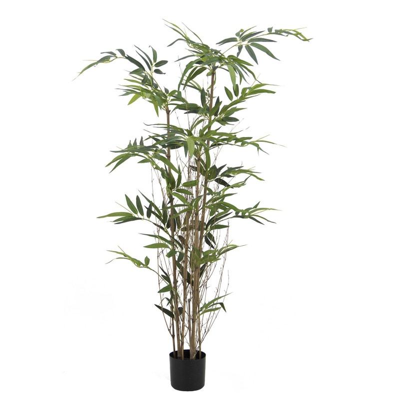 Bambou Artificiel 3 Troncs Naturels Et 480 Feuilles H180cm Pot Noir