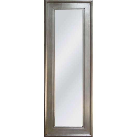 Miroir tisbury rectangle argent 50x140 cm leroy merlin for Miroir leroy merlin