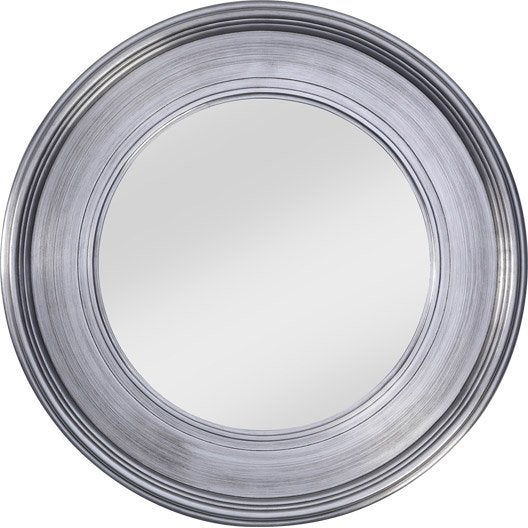 Miroir Rond Xl Argenté : Miroir tisbury rond argent diamètre cm leroy merlin