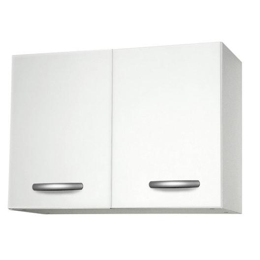 Meuble de cuisine haut 2 portes, blanc, h57.9x l80x p35.2cm | Leroy ...