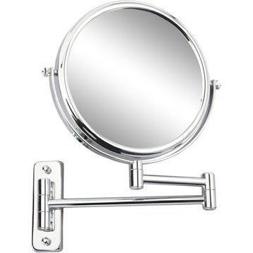 Miroir grossissant x 10 rond à fixer (perçage), H.20 x l.20 x P.3.5cm, Constance