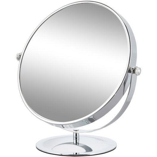 miroir grossissant x 5 rond poser x x cm carla leroy merlin. Black Bedroom Furniture Sets. Home Design Ideas