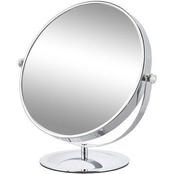 Miroir grossissant x 5 rond à poser, H.15 x l.15 x P.12.5 cm, Carla