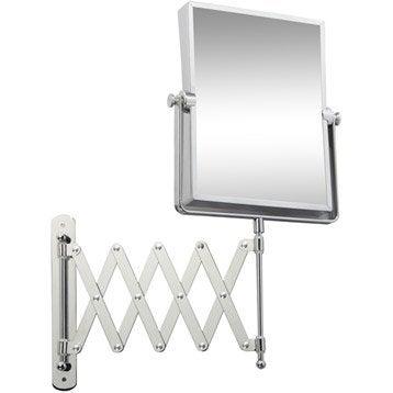 Miroir grossissant x5 rectangulaire à fixer, H.20.5 x l.15.5 x P.4.2 cm, Lauryne