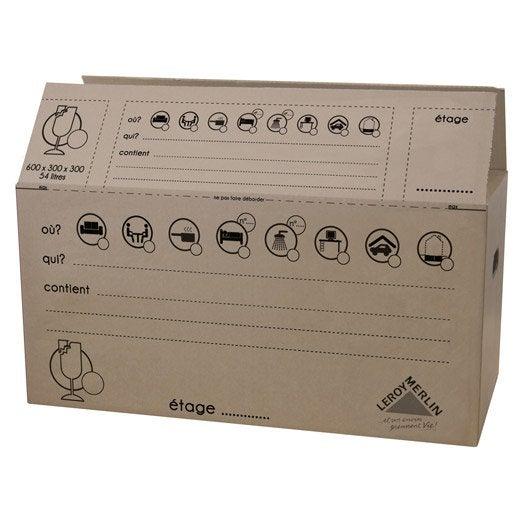 Carton de déménagement 54 l l.30 x H.30 x P.60 cm